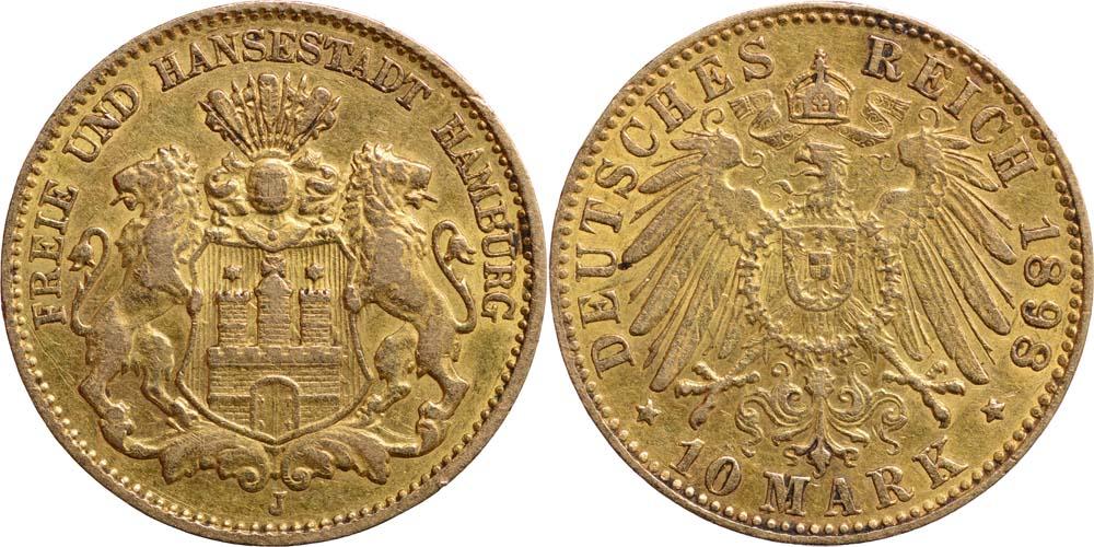 Deutschland : 10 Mark Hansestadt  1898 ss/vz.