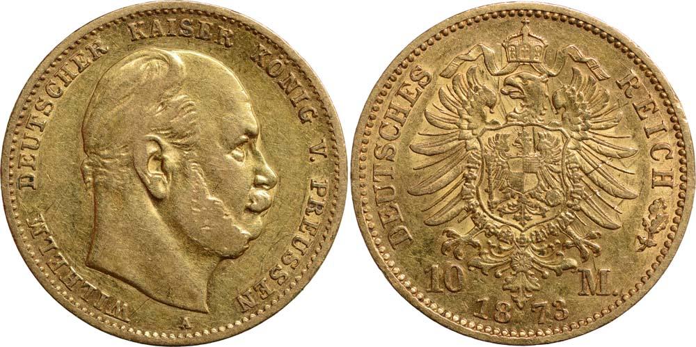 Lieferumfang:Deutschland : 10 Mark Wilhelm I.  1873 ss.
