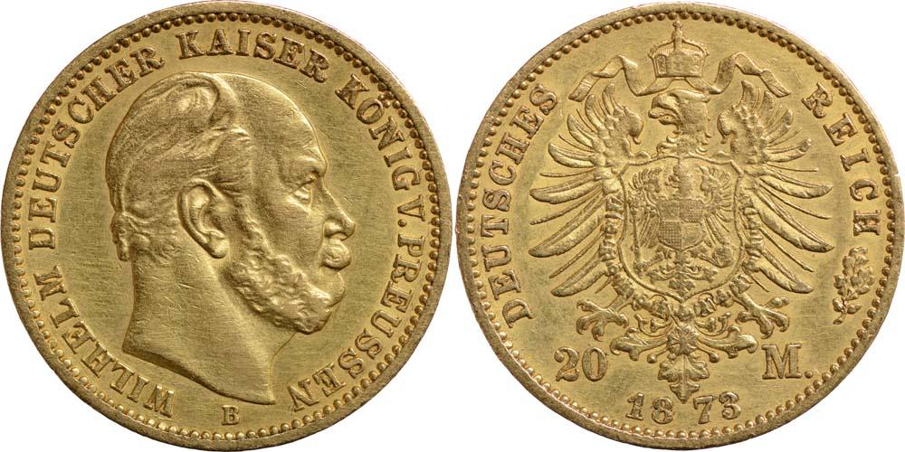 Lieferumfang:Deutschland : 20 Mark Wilhelm I.  1873 ss/vz.