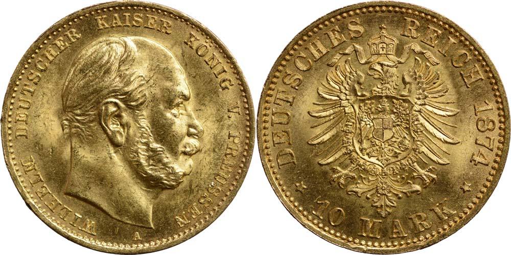 Lieferumfang:Deutschland : 10 Mark Wilhelm I. winz. Kratzer 1874 vz/Stgl.
