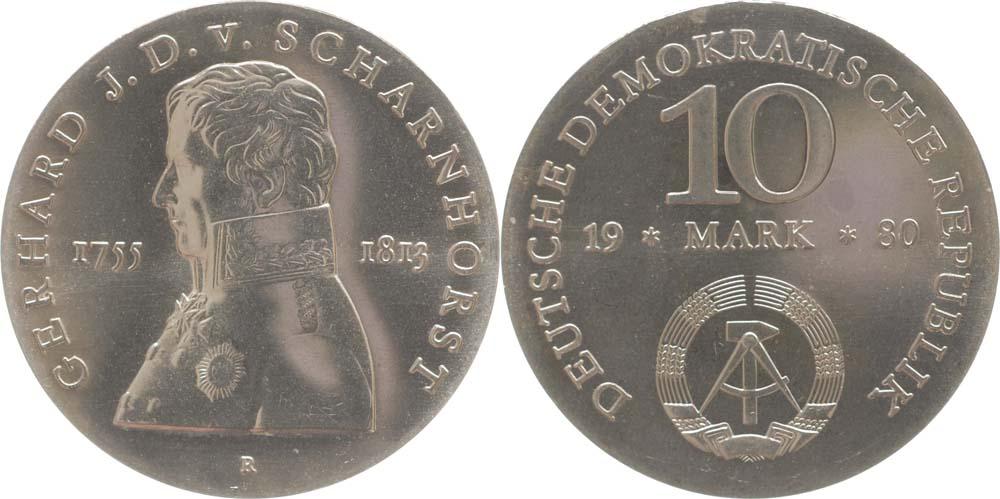Lieferumfang:DDR : 10 Mark G. J. D. von Scharnhorst  1980 Stgl.