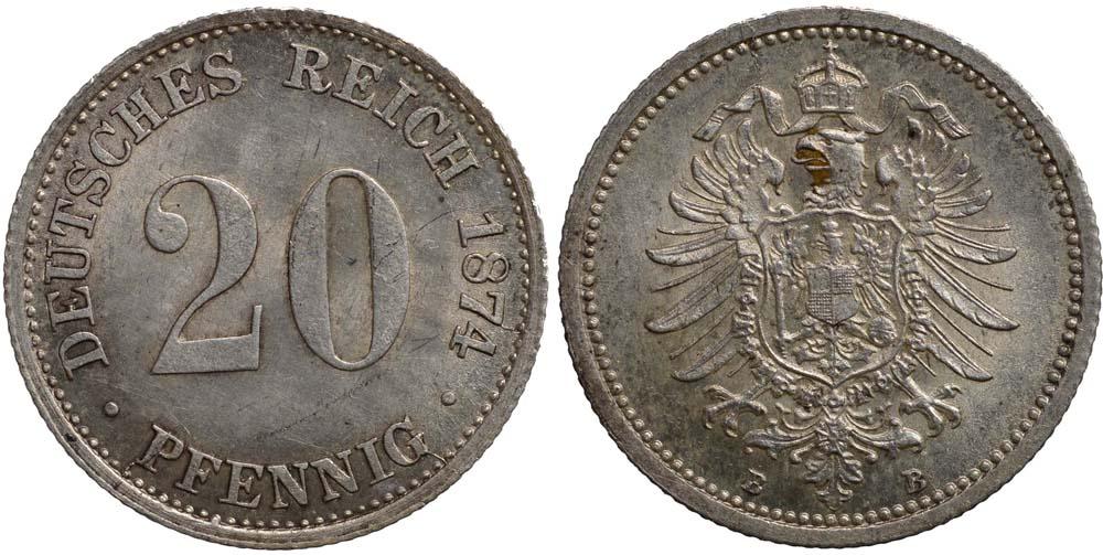 Deutschland : 20 Pfennig   1874 f.Stgl.