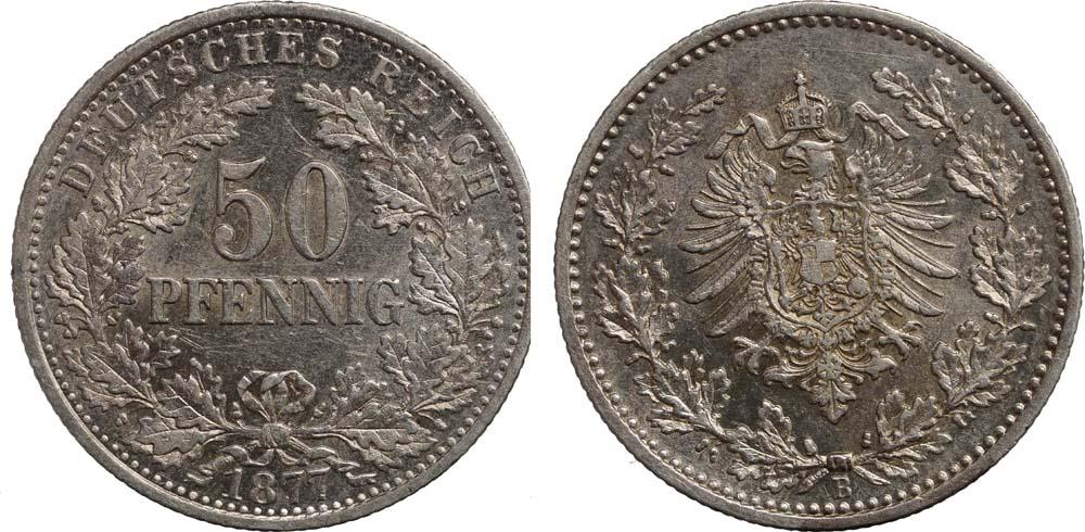 Lieferumfang:Deutschland : 50 Pfennig   1877 vz/Stgl.