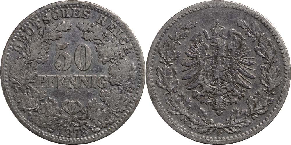 Deutschland : 50 Pfennig   1878 f.ss