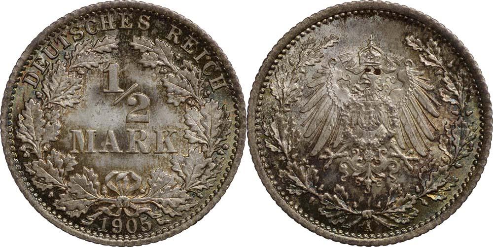 Deutschland : 1/2 Mark  patina 1905 Stgl.