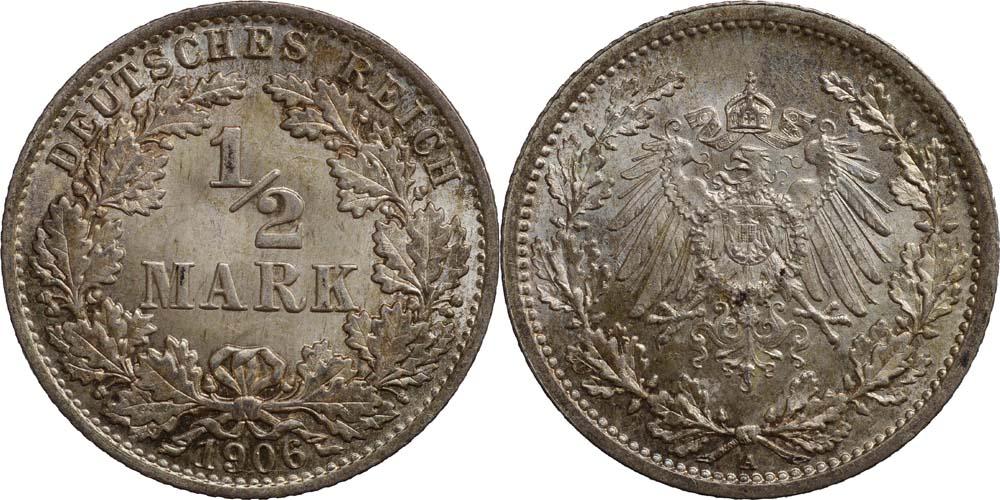 Lieferumfang:Deutschland : 1/2 Mark  patina 1906 Stgl.
