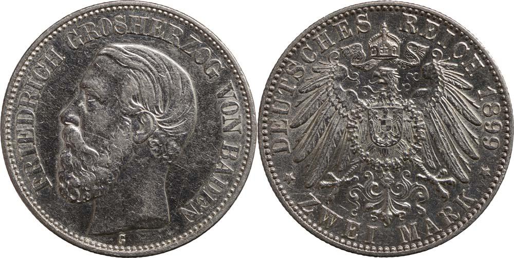 Übersicht:Deutschland : 2 Mark Friedrich I.  1899 ss/vz.
