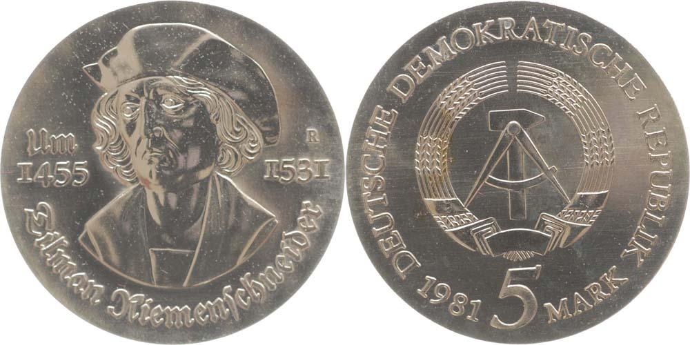 Lieferumfang:DDR : 5 Mark Tilmann Riemenschneider  1981 Stgl.