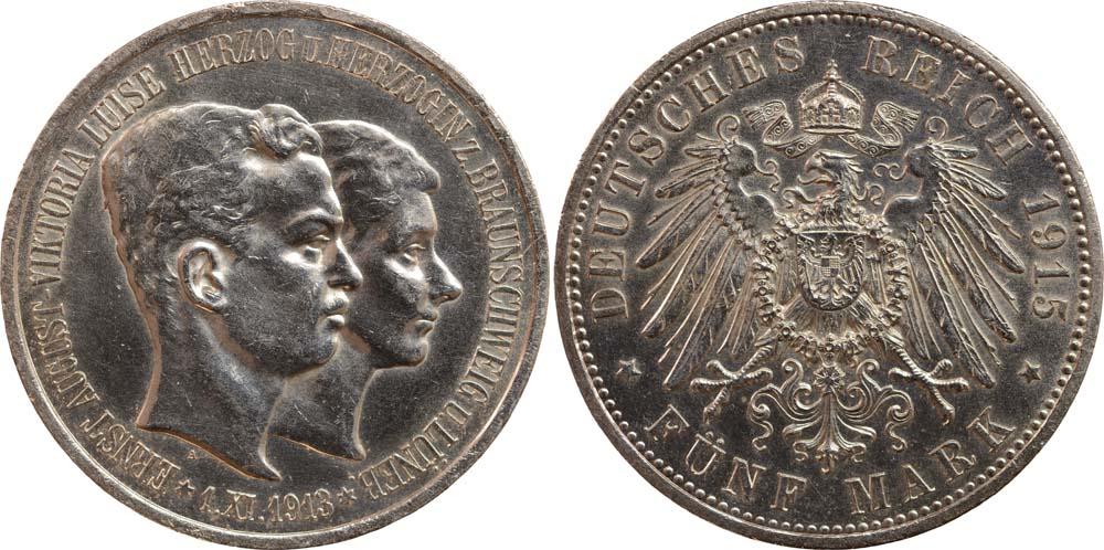 Übersicht:Deutschland : 5 Mark Ernst August Randunebenheiten 1915 vz/Stgl.