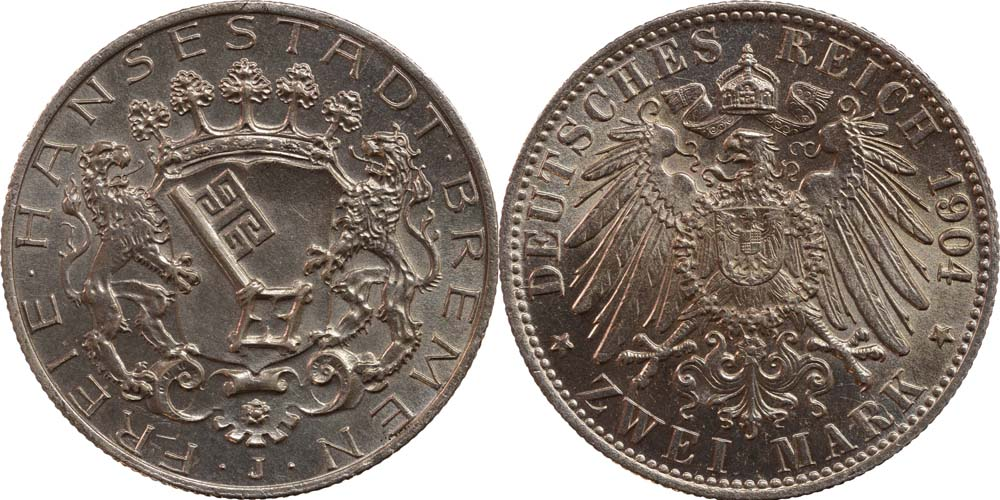 Deutschland : 2 Mark  patina 1904 Stgl.