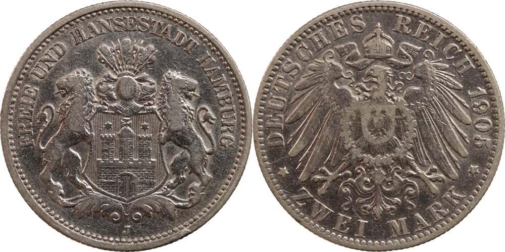Übersicht:Deutschland : 2 Mark  -seltenes Jahr-, winz. Rs. 1905 ss.
