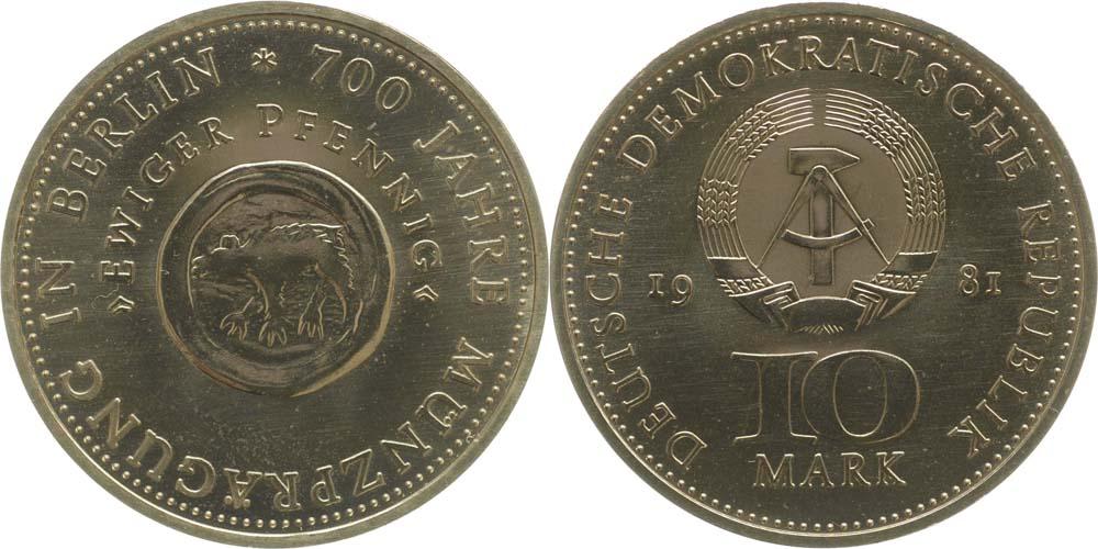 Lieferumfang:DDR : 10 Mark 700 Jahre Berliner Münze  1981 Stgl.