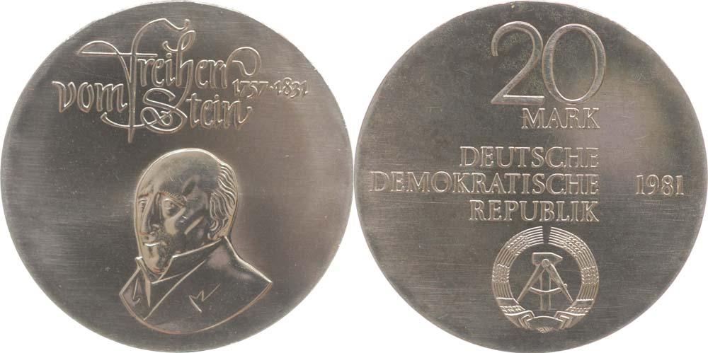 Lieferumfang:DDR : 20 Mark H. Fr. Karl vom Stein  1981 Stgl.