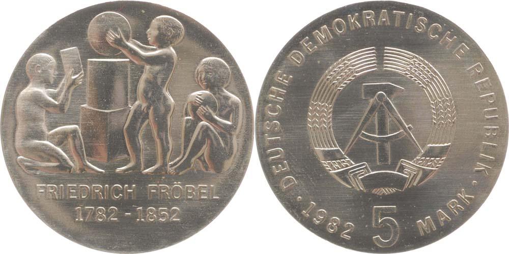 Übersicht:DDR : 5 Mark Friedrich Wilhelm August Fröbel  1982 Stgl.