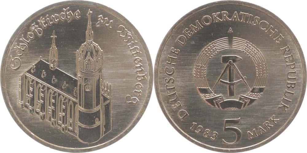 Lieferumfang:DDR : 5 Mark Schloßkirche zu Wittenberg  1983 Stgl.
