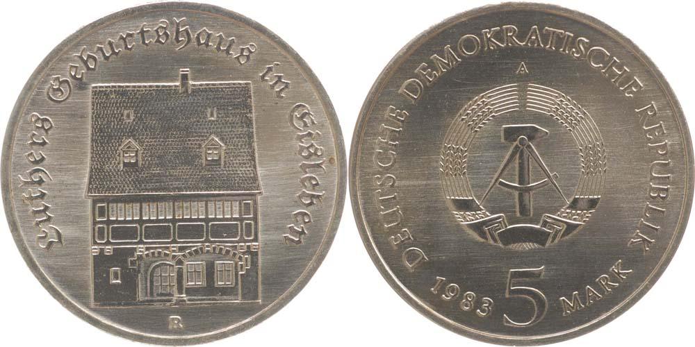 Lieferumfang:DDR : 5 Mark Geburtshaus Luther  1983 Stgl.