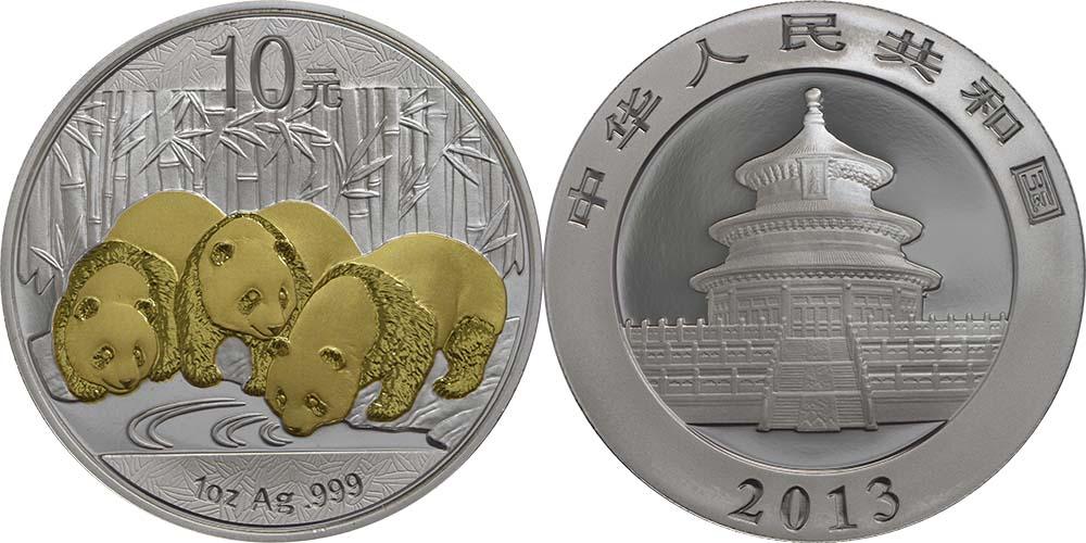 Lieferumfang:China : 10 Yuan Panda, vergoldet  2013 Stgl.
