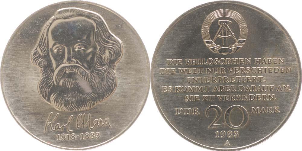 Lieferumfang:DDR : 20 Mark Karl Marx  1983 Stgl.