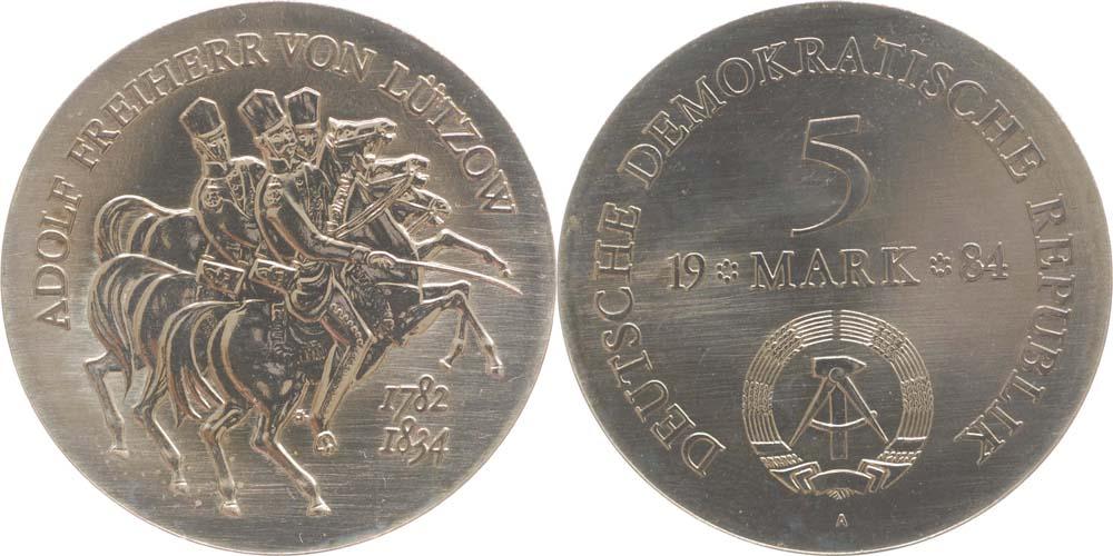 Übersicht:DDR : 5 Mark A. L. Wilhelm Freiherr von Lützow  1984 Stgl.