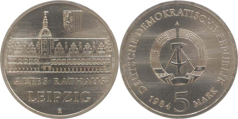DDR : 5 Mark Rathaus Leipzig  1984 Stgl.