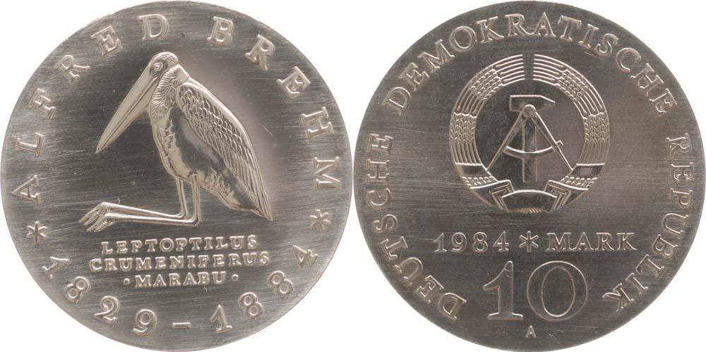 Lieferumfang:DDR : 10 Mark Alfred Brehm  1984 Stgl.