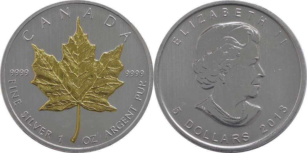 Kanada : 5 Dollar 25 Jahre Maple Leaf 1oz,vergoldet  2013 PP