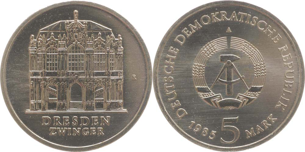 DDR : 5 Mark Wallpavillon Dresden  1985 Stgl.