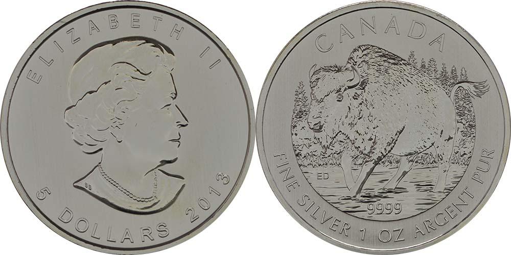 Kanada : 5 Dollar Wildlife Serie - Bison -  2013 Stgl.