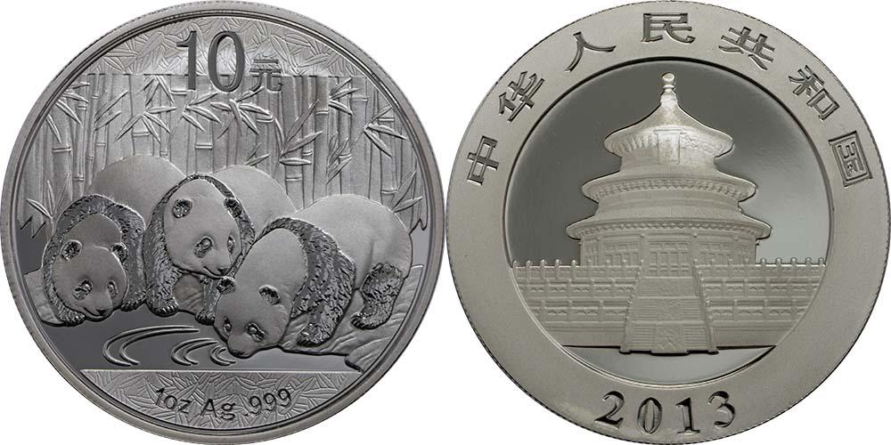 Lieferumfang:China : 10 Yuan Panda  2013 Stgl.