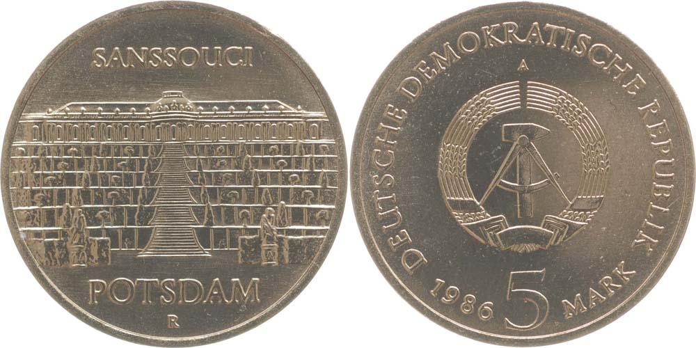 Lieferumfang:DDR : 5 Mark Schloß Sanssouci  1986 Stgl.