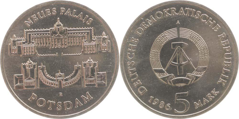 Lieferumfang:DDR : 5 Mark Neues Palais Potsdam  1986 Stgl.