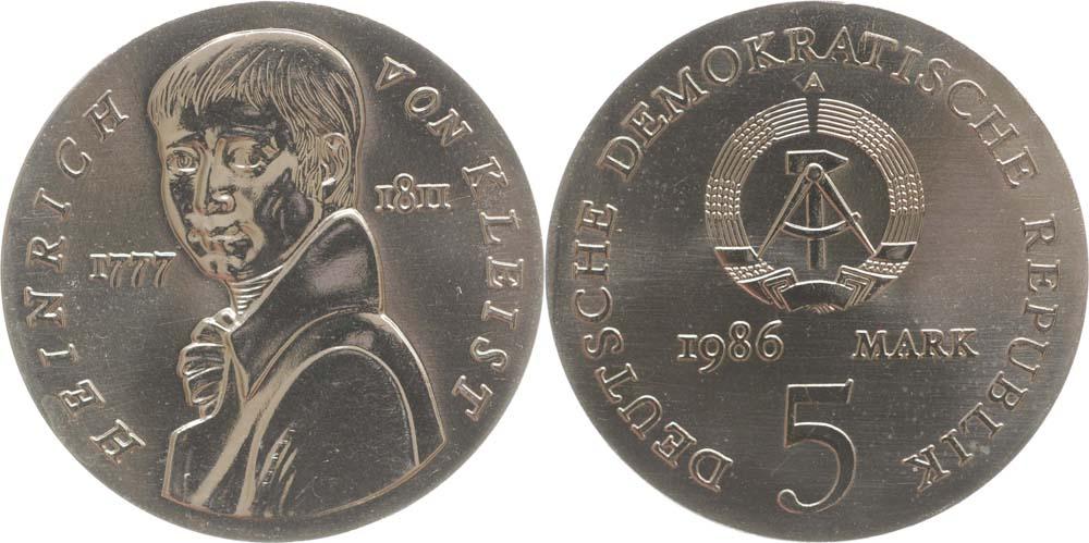 DDR : 5 Mark Heinrich von Kleist  1986 Stgl.