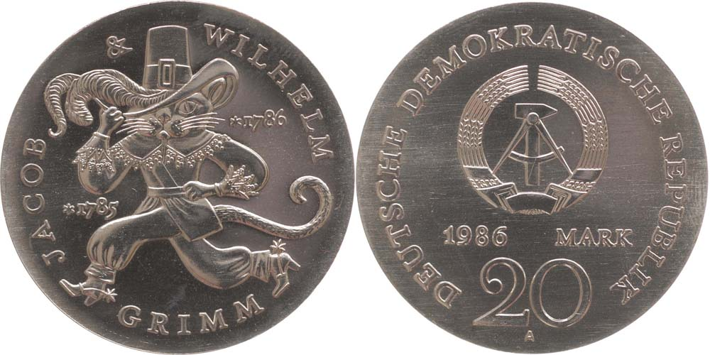 Lieferumfang:DDR : 20 Mark Gebrüder Grimm  1986 Stgl.