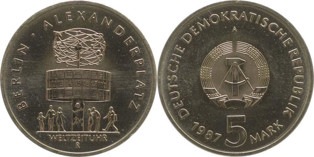 Übersicht:DDR : 5 Mark Alexanderplatz  1987 Stgl.