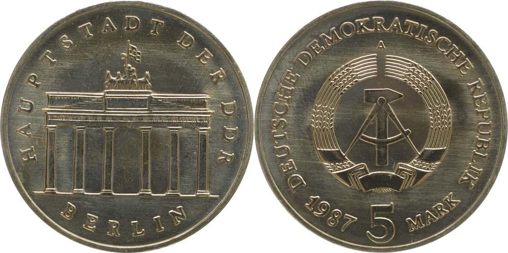Lieferumfang:DDR : 5 Mark Brandenburger Tor - Super Preis ! - 1987 Stgl.