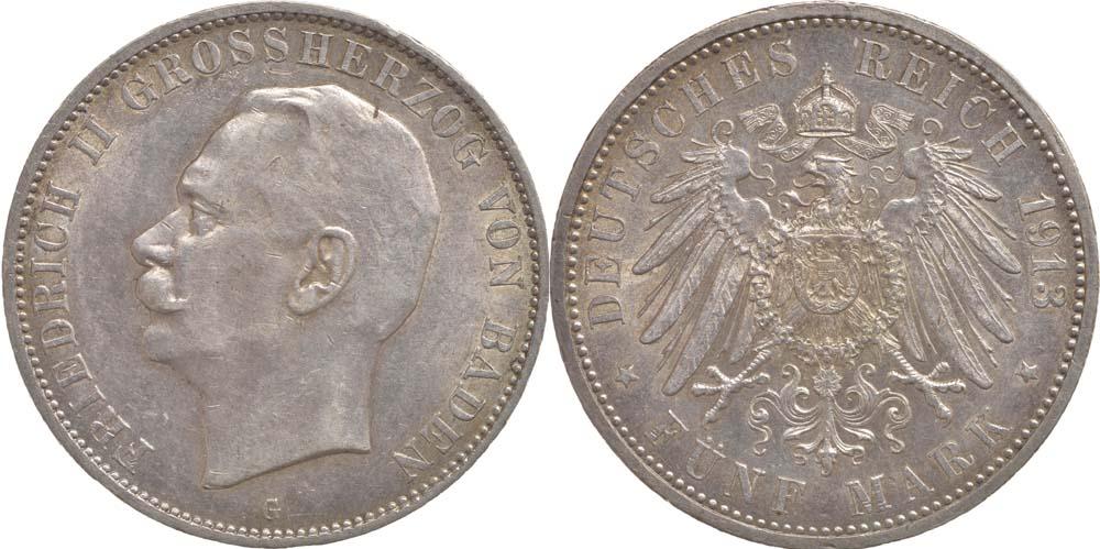 Deutschland : 5 Mark Friedrich II. -geschlossenes D- winz. Rs. 1913 vz/Stgl.