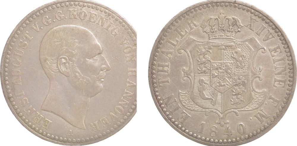 Übersicht:Deutschland : 1 Taler Ernst August patina 1840 ss/vz.