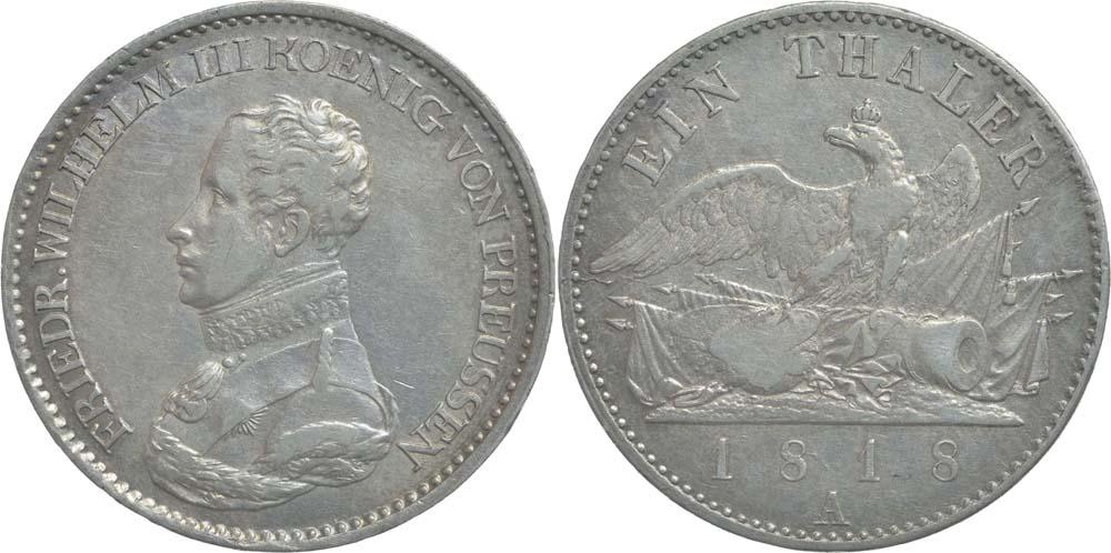 Übersicht:Deutschland : 1 Taler Friedrich Wilhelm III. !Erhaltung! 1818 f.vz.