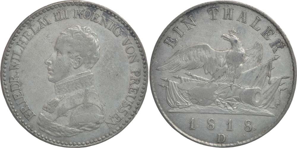 Deutschland : 1 Taler Friedrich Wilhelm III. patina 1818 ss.