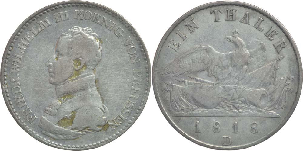 Übersicht:Deutschland : 1 Taler Friedrich Wilhelm III. patina 1818 s/ss.