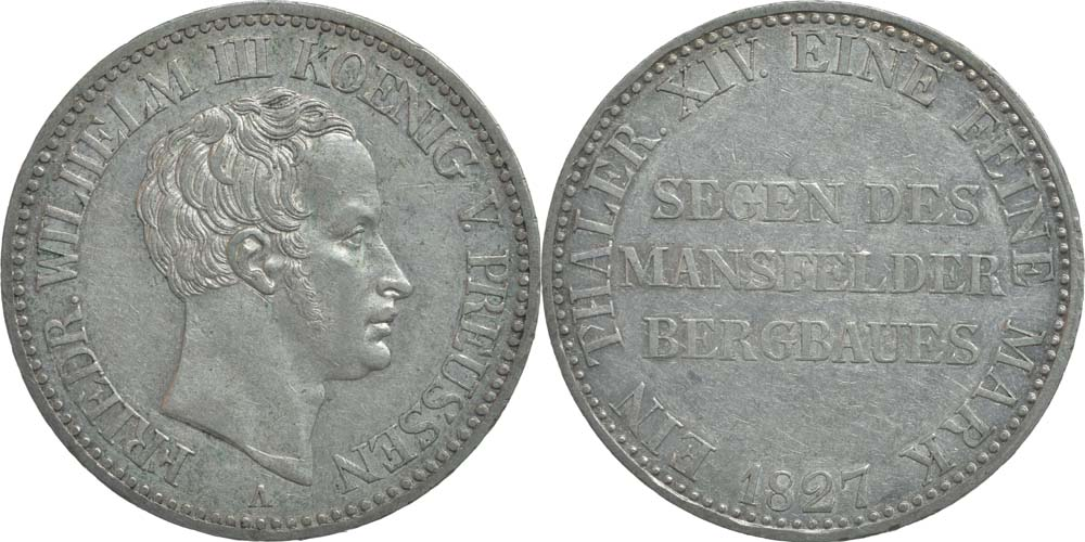 Deutschland : 1 Ausbeutetaler Friedrich Wilhlem III.  1827 ss+