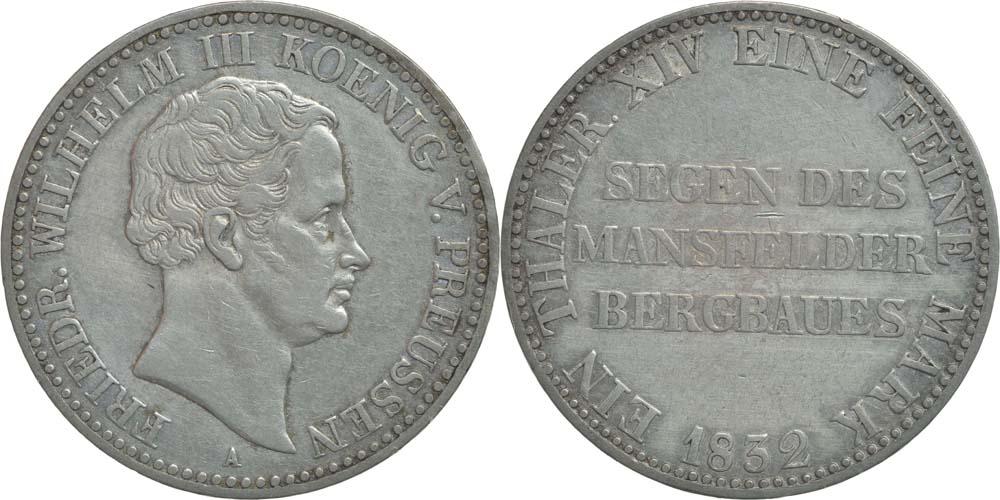 Lieferumfang:Deutschland : 1 Ausbeutetaler Friedrich Wilhelm III.  1832 ss/vz.