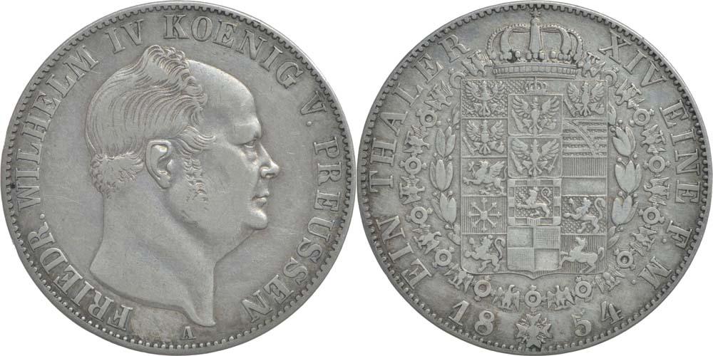 Deutschland : 1 Taler Friedrich Wilhelm IV.  1854 ss/vz.