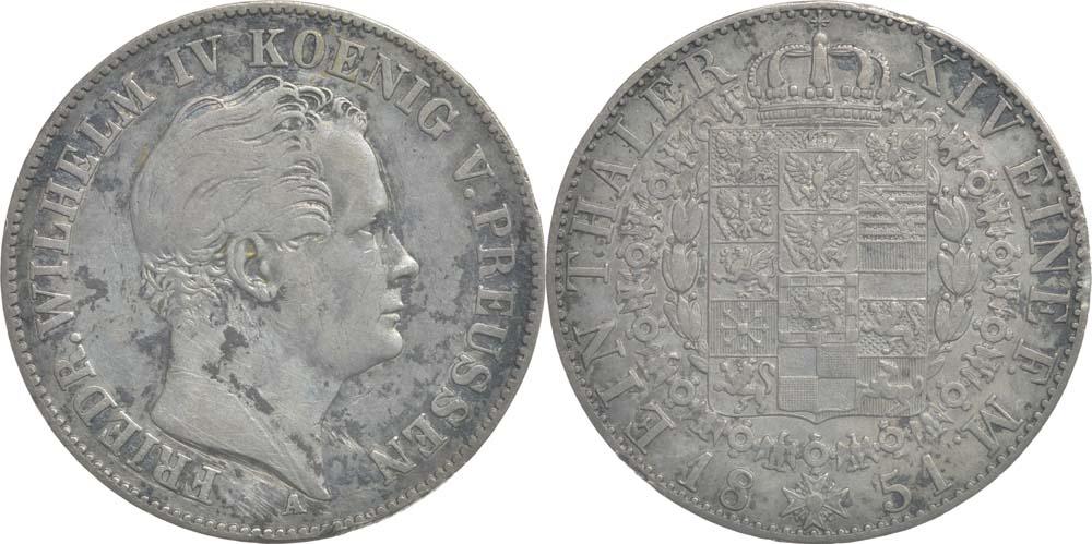 Übersicht:Deutschland : 1 Taler Friedrich Wilhelm IV. patina, Kratzer 1851 ss.