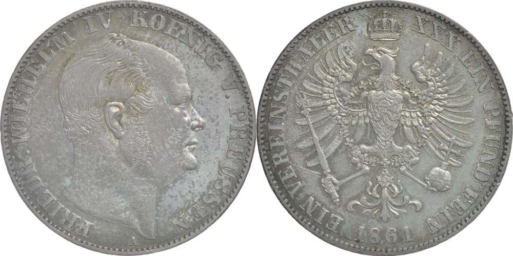 Deutschland : 1 Vereinstaler Friedrich Wilhelm IV.; Sterbetaler 2. Januar 1861 patina 1861 vz.