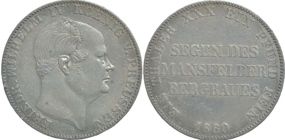Deutschland : 1 Ausbeutetaler Friedrich Wilhem IV. winz. Rs. 1860 ss.