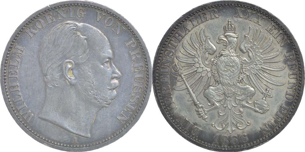 Deutschland : 1 Vereinstaler Wilhelm I. patina 1866 vz/Stgl.