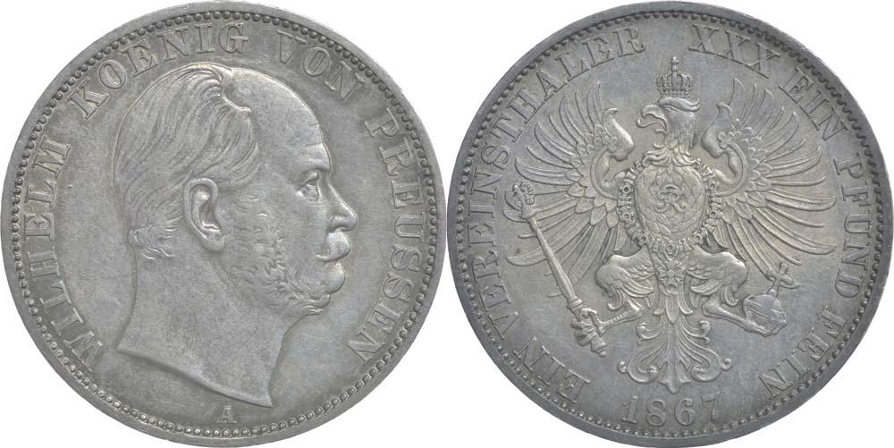 Deutschland : 1 Vereinstaler Wilhelm I. patina, winz. Kratzer 1867 vz/Stgl.
