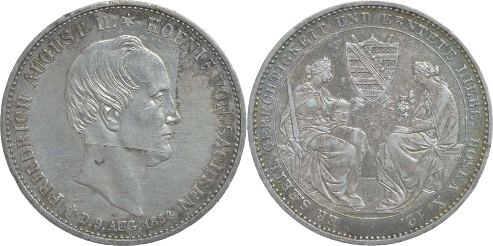 Deutschland : 1 Ausbeutetaler Friedrich August II. auf den Tod patina, winz. Rs., -selten- 1854 vz.