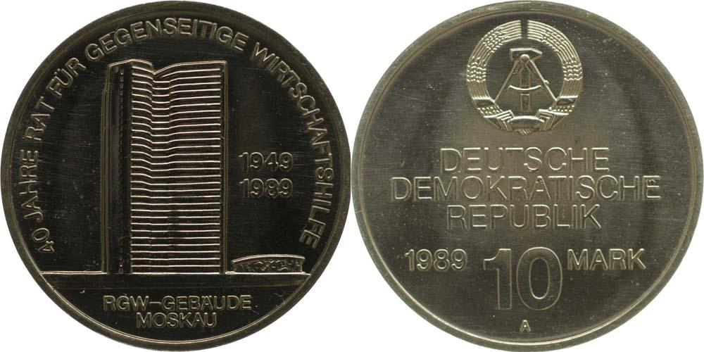 Lieferumfang:DDR : 10 Mark 40 Jahre RGW  1989 Stgl.